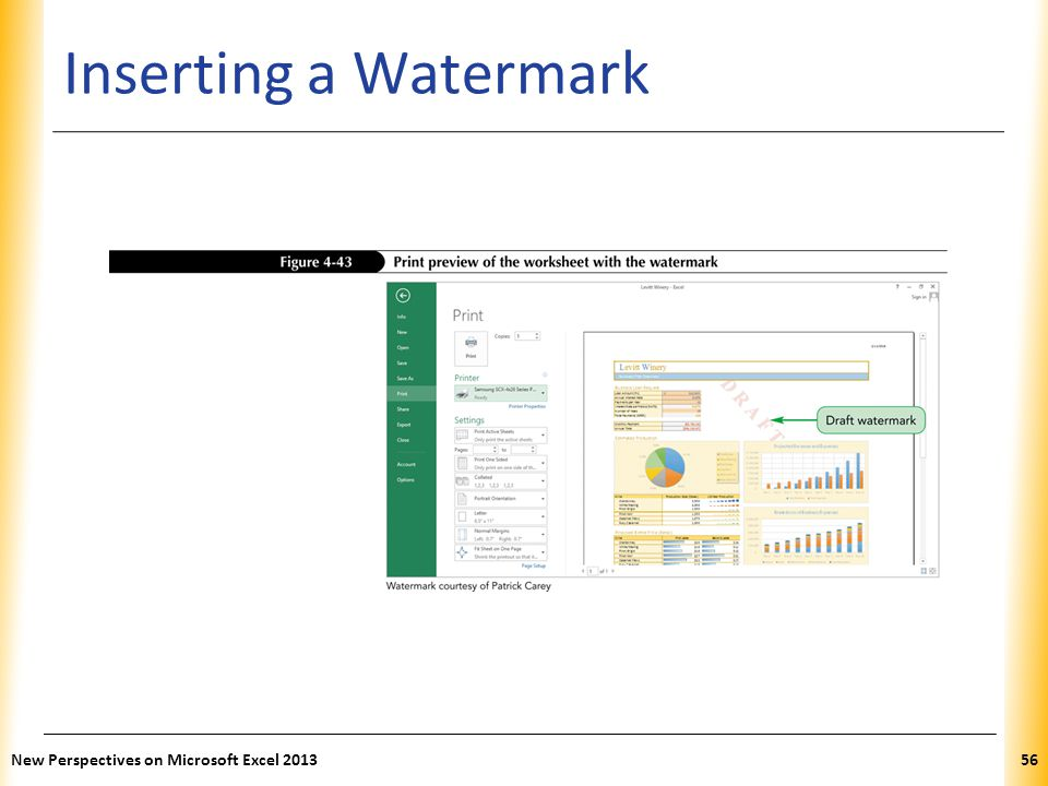 Inserting a Watermark New Perspectives on Microsoft Excel 2013