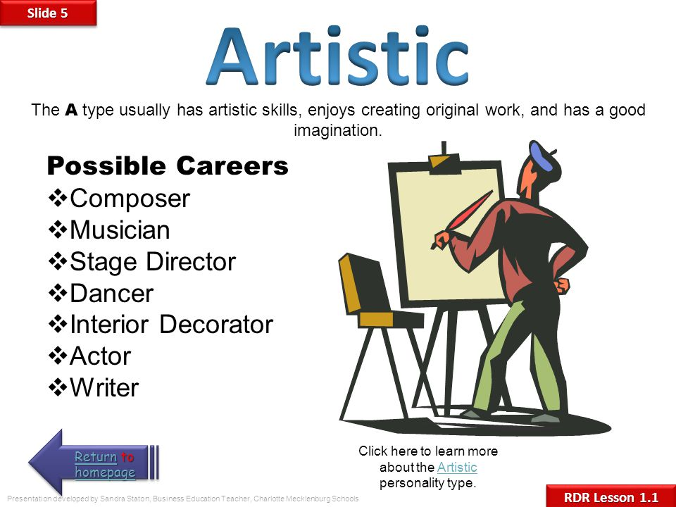 Click here to learn more about the Artistic personality type.