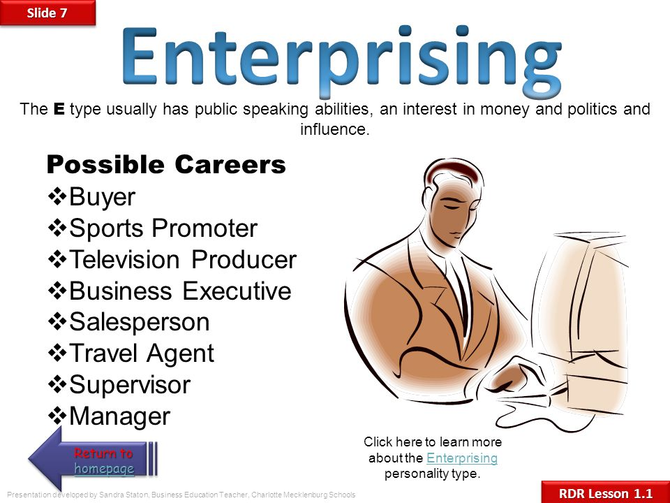 Click here to learn more about the Enterprising personality type.
