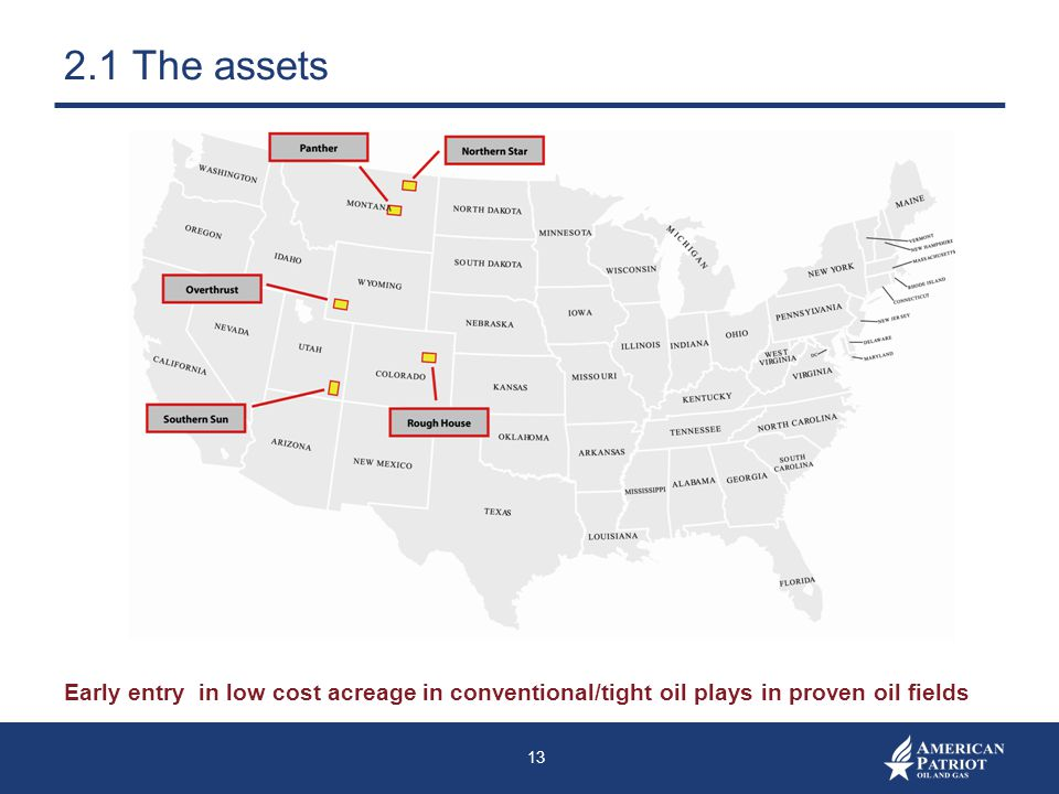 2.1 The assets Early entry in low cost acreage in conventional/tight oil plays in proven oil fields.