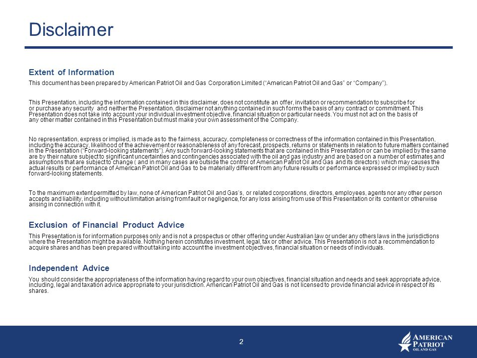 Disclaimer Extent of Information Exclusion of Financial Product Advice