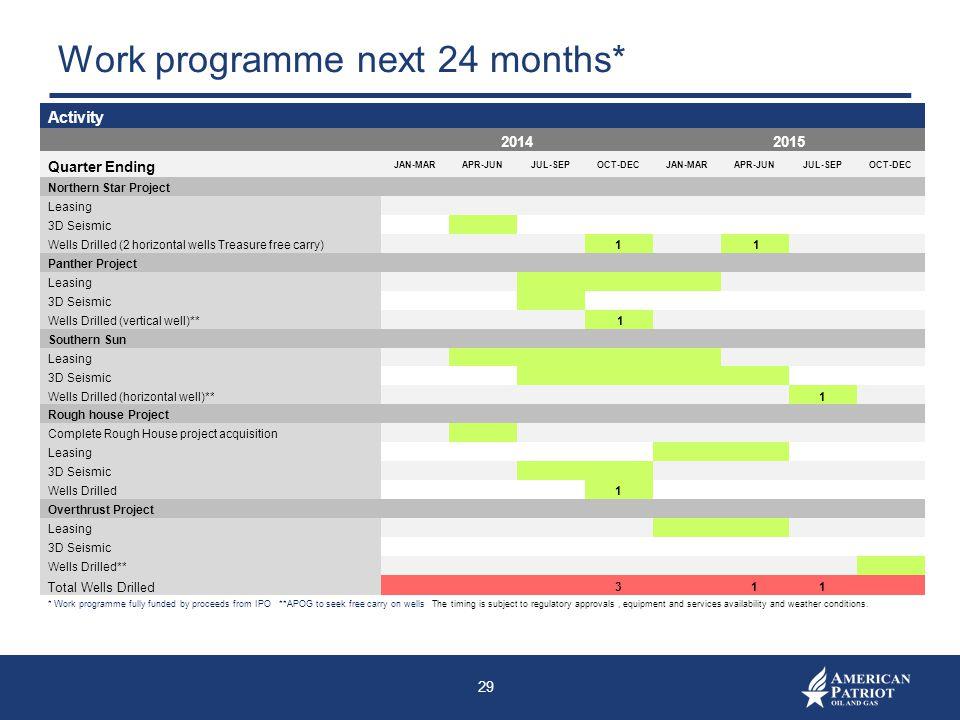 Work programme next 24 months*