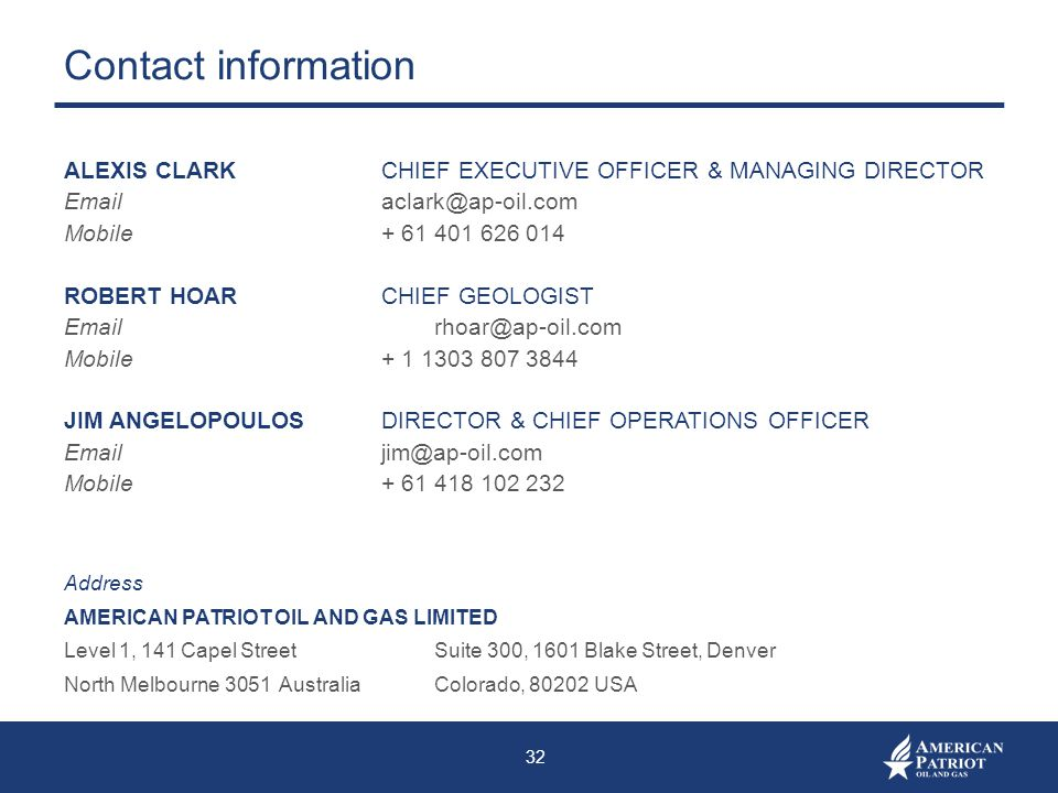Contact information ALEXIS CLARK CHIEF EXECUTIVE OFFICER & MANAGING DIRECTOR. Email aclark@ap-oil.com.