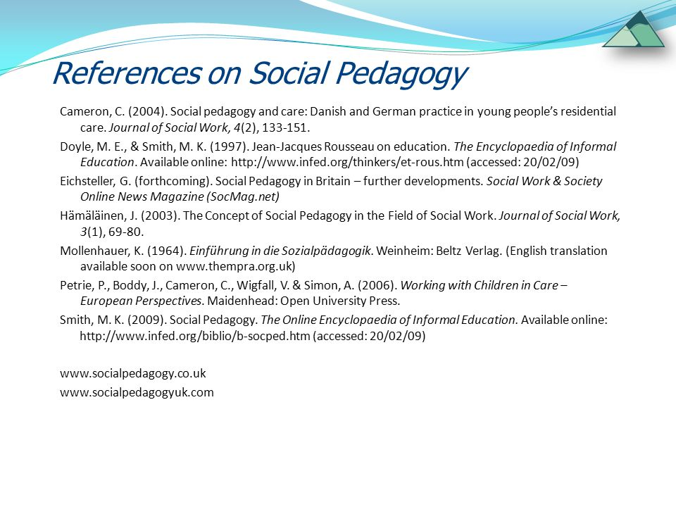 References on Social Pedagogy