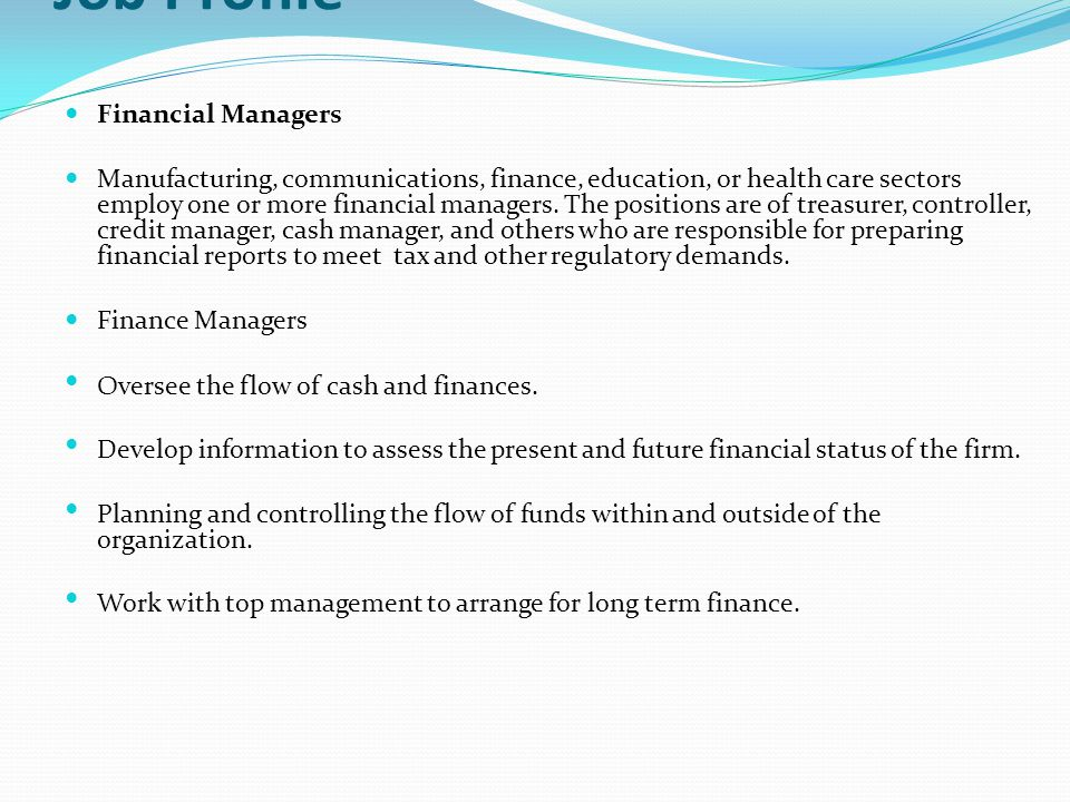 Job Profile Financial Managers