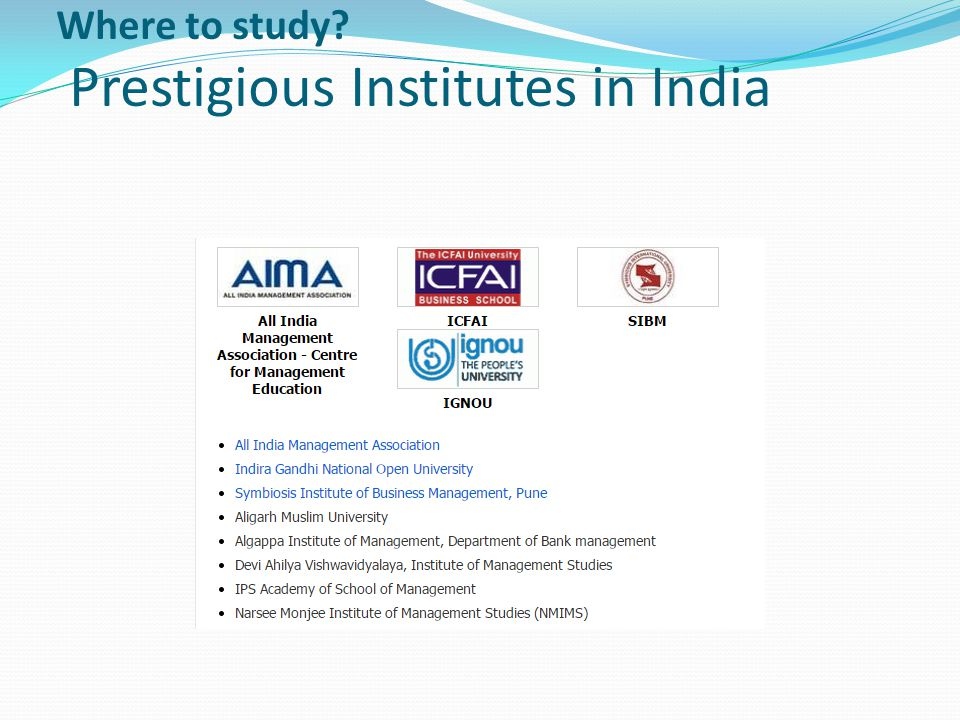 Where to study Prestigious Institutes in India