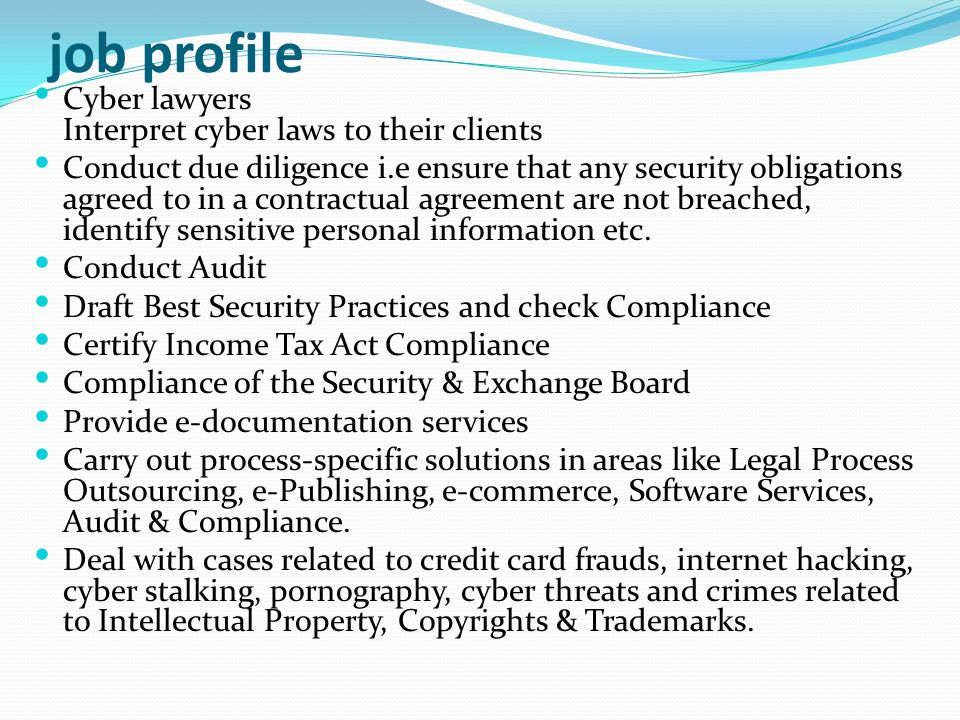 job profile Cyber lawyers Interpret cyber laws to their clients