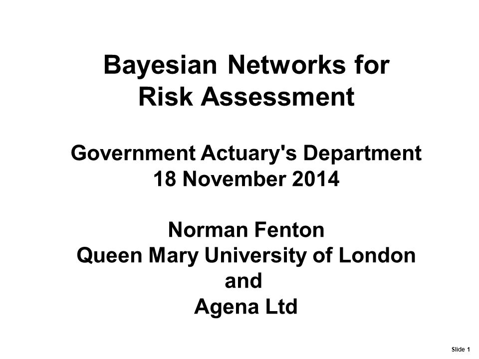Bayesian Networks for Risk Assessment