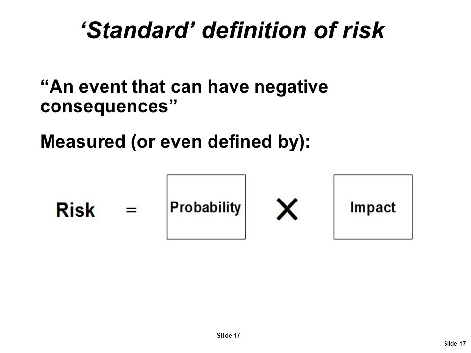 'Standard' definition of risk