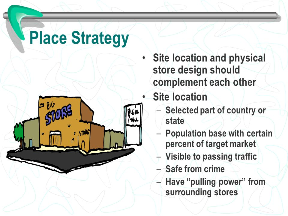 Place Strategy Site location and physical store design should complement each other. Site location.