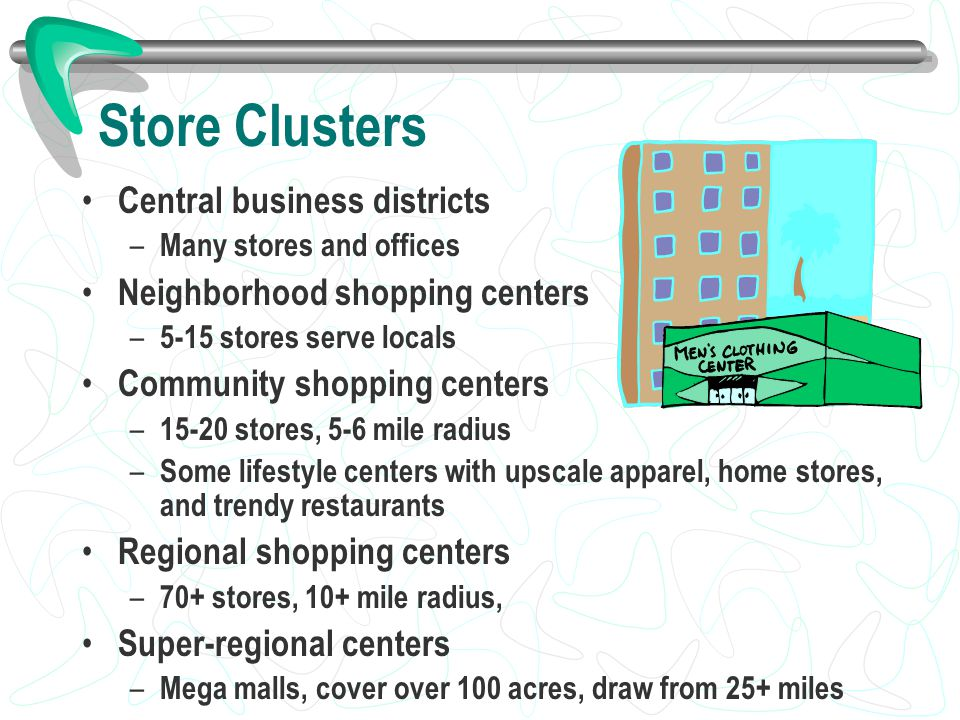 Store Clusters Central business districts