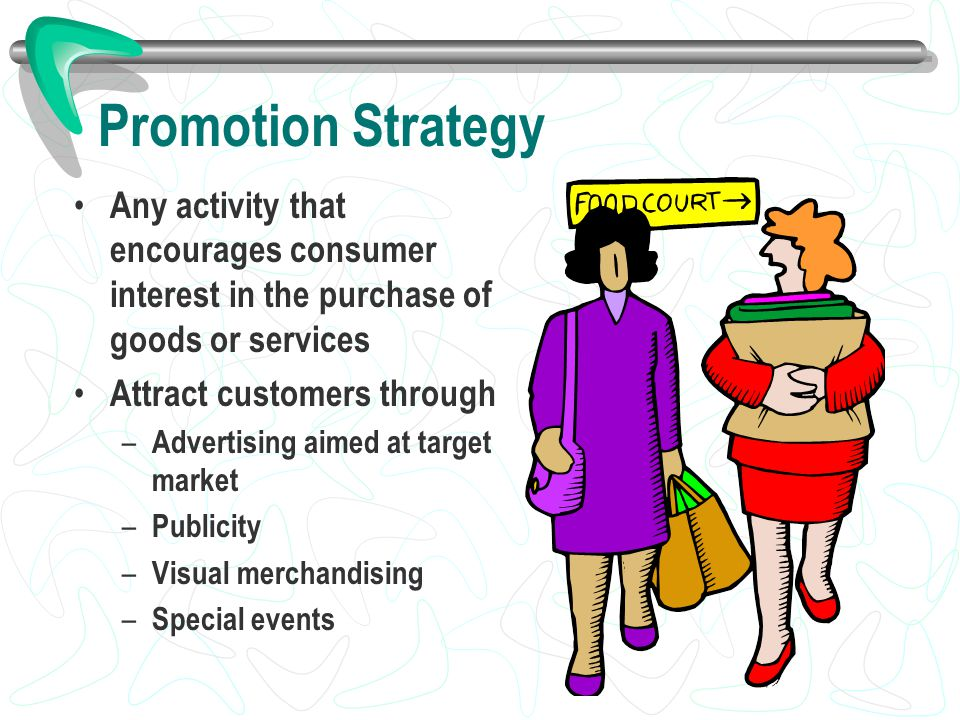 Promotion Strategy Any activity that encourages consumer interest in the purchase of goods or services.
