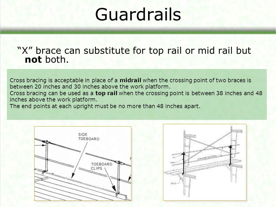 Guardrails X brace can substitute for top rail or mid rail but not both.