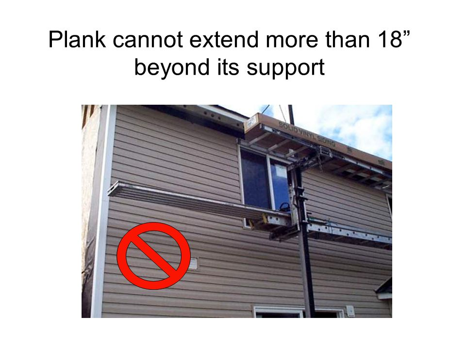 Plank cannot extend more than 18 beyond its support