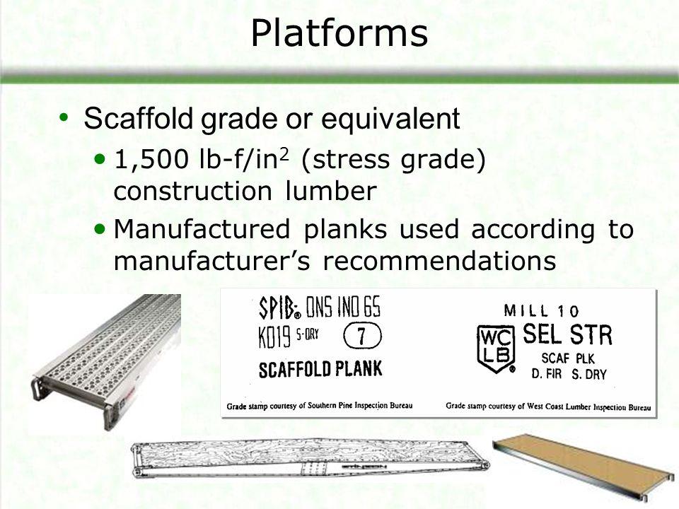 Platforms Scaffold grade or equivalent