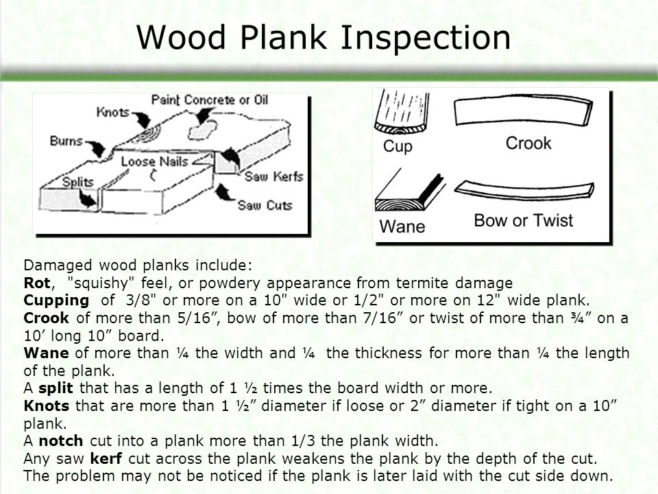 Wood Plank Inspection Damaged wood planks include: