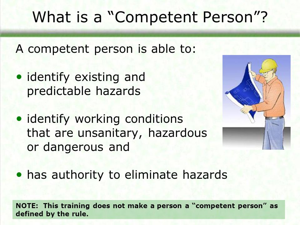 What is a Competent Person