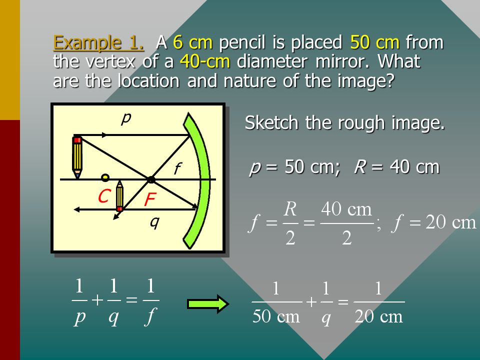Example 1. A 6 cm pencil is placed 50 cm from the vertex of a 40-cm diameter mirror. What are the location and nature of the image