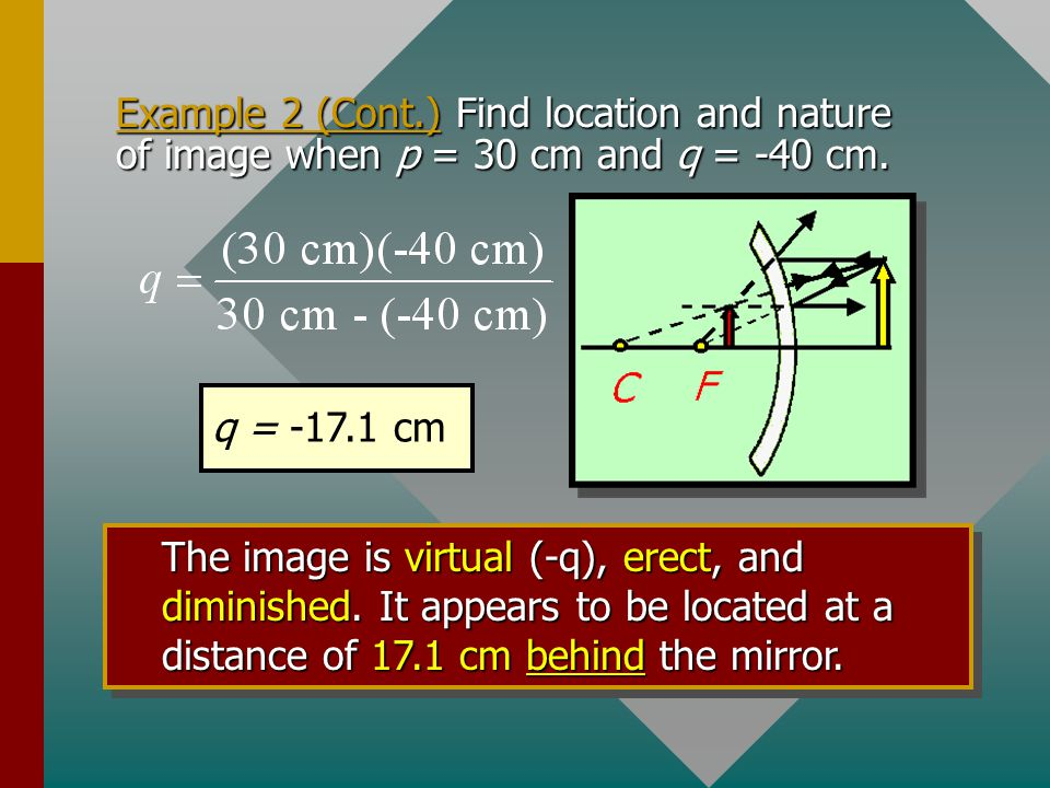 Example 2 (Cont.) Find location and nature of image when p = 30 cm and q = -40 cm.