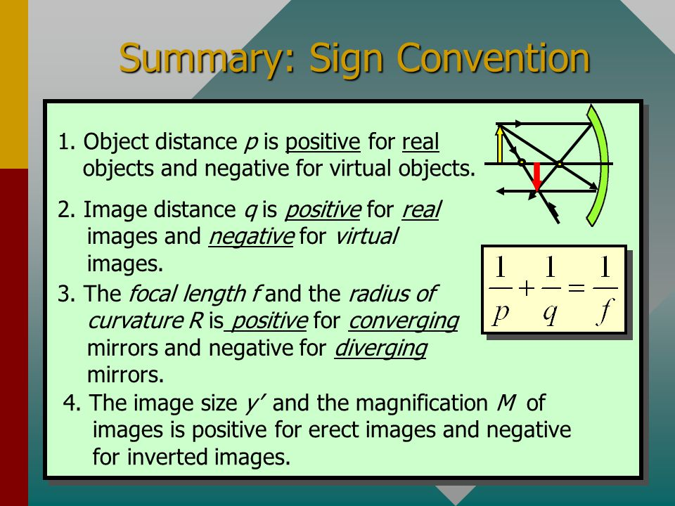 Summary: Sign Convention
