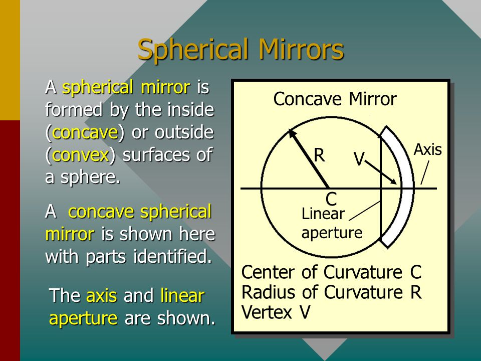 Spherical Mirrors A spherical mirror is formed by the inside (concave) or outside (convex) surfaces of a sphere.