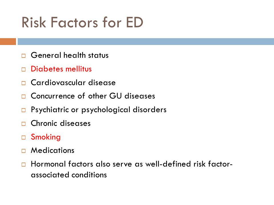 Risk Factors for ED General health status Diabetes mellitus