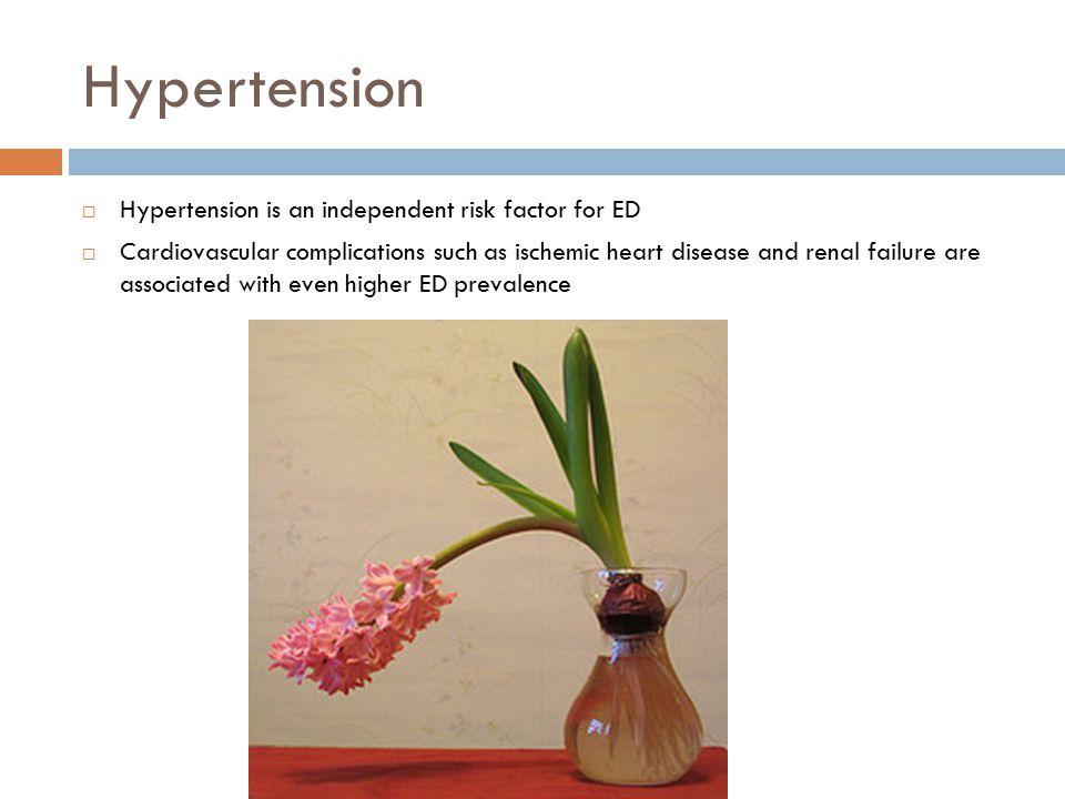 Hypertension Hypertension is an independent risk factor for ED