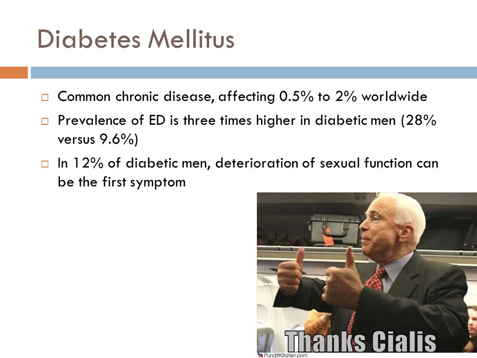 Diabetes Mellitus Common chronic disease, affecting 0.5% to 2% worldwide. Prevalence of ED is three times higher in diabetic men (28% versus 9.6%)