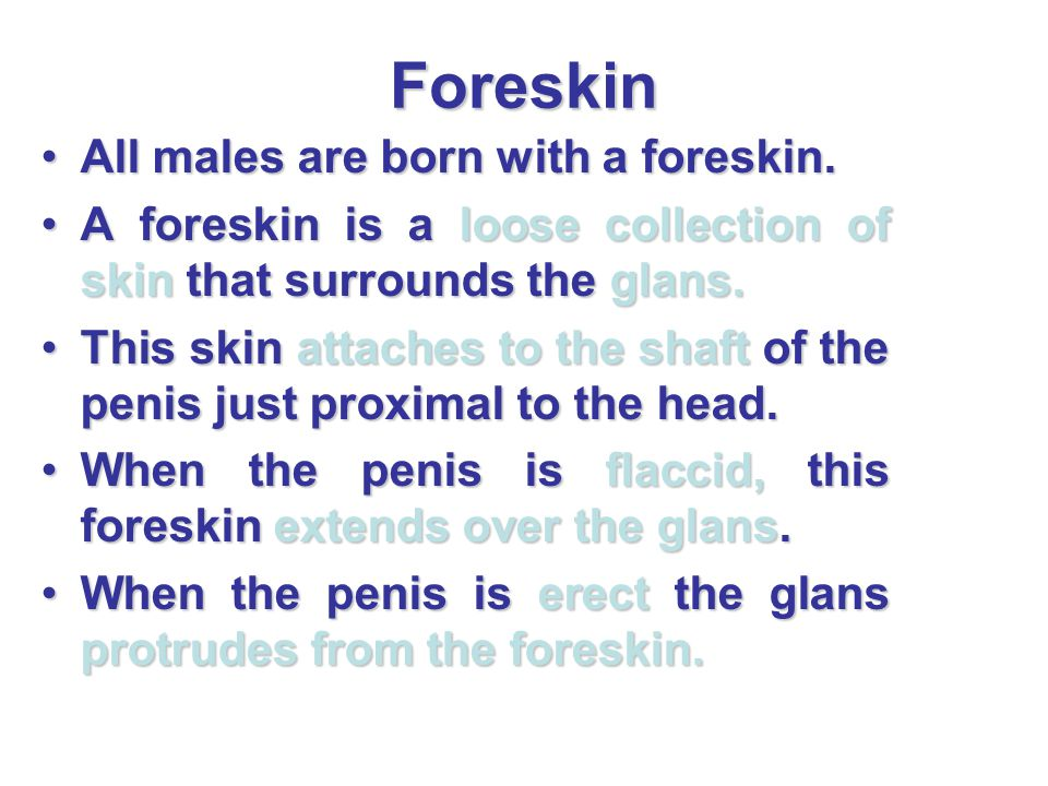 Foreskin All males are born with a foreskin.