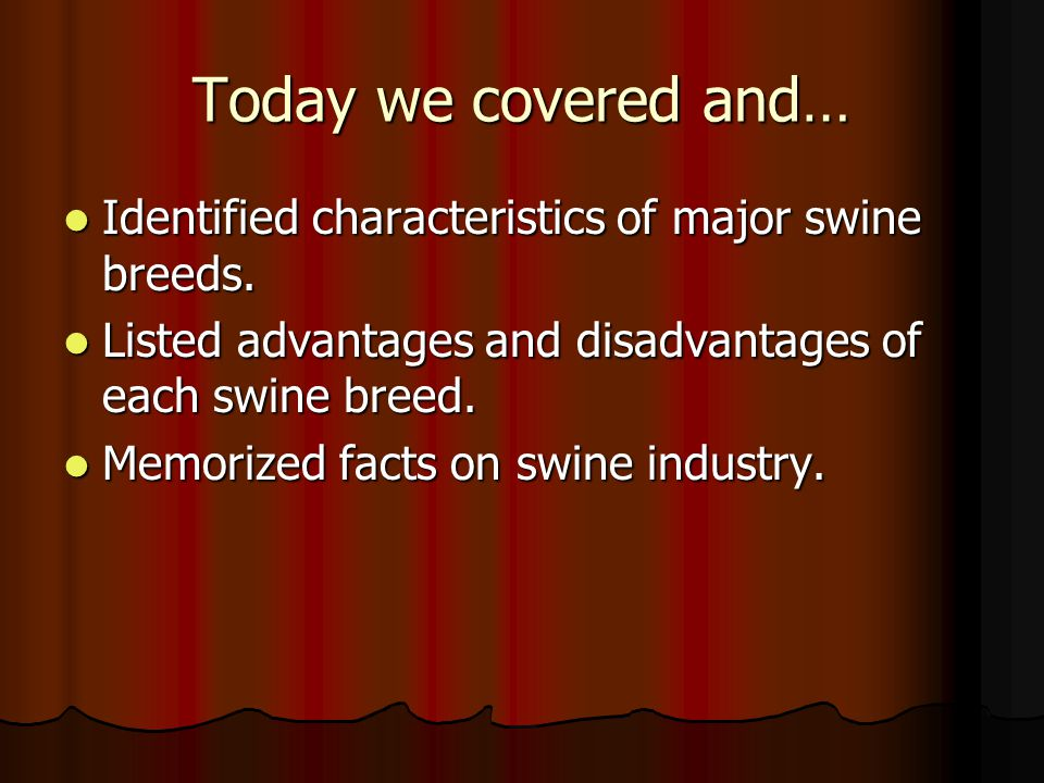 Today we covered and… Identified characteristics of major swine breeds. Listed advantages and disadvantages of each swine breed.