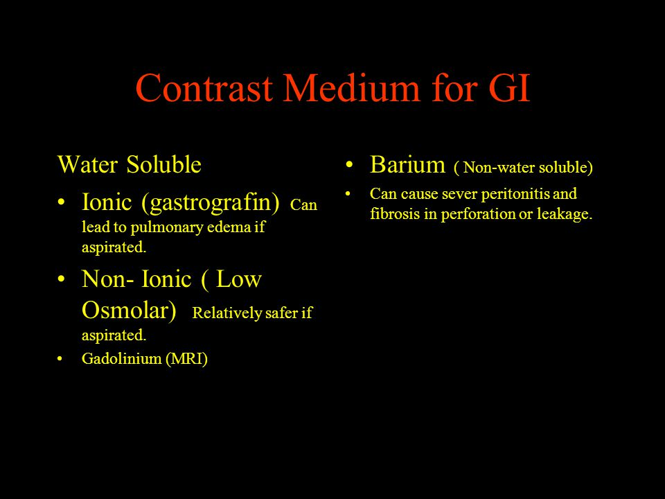 Contrast Medium for GI Water Soluble