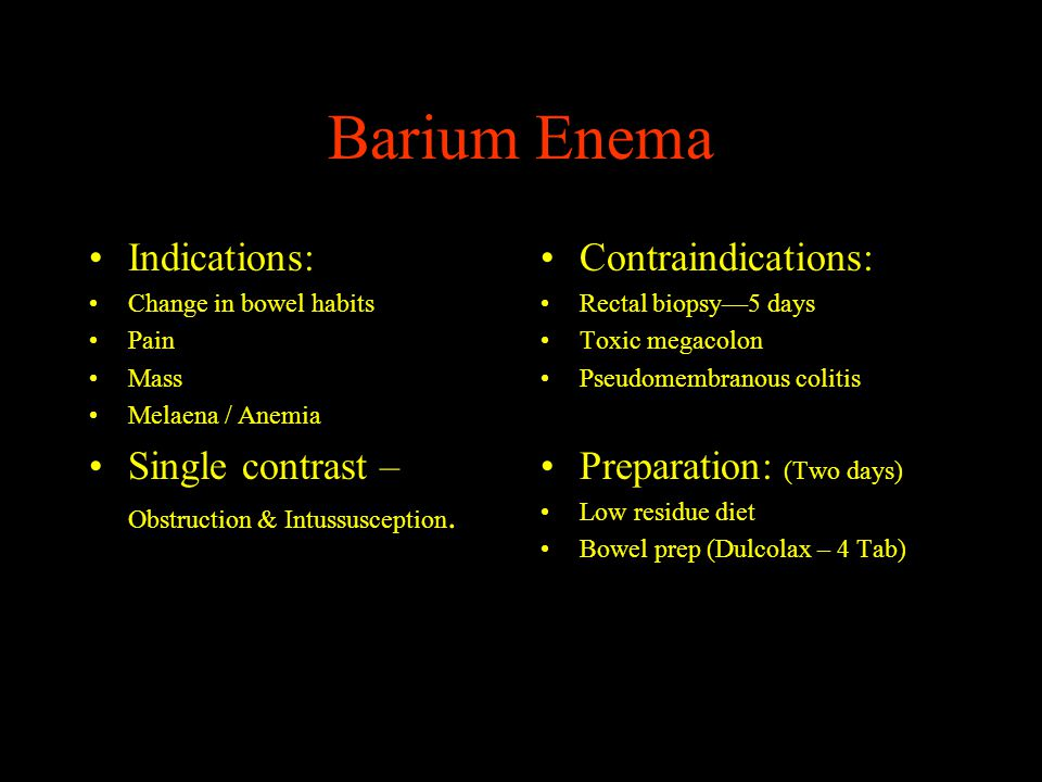 Barium Enema Indications: