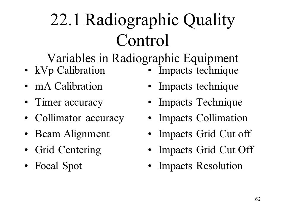 22.1 Radiographic Quality Control Variables in Radiographic Equipment