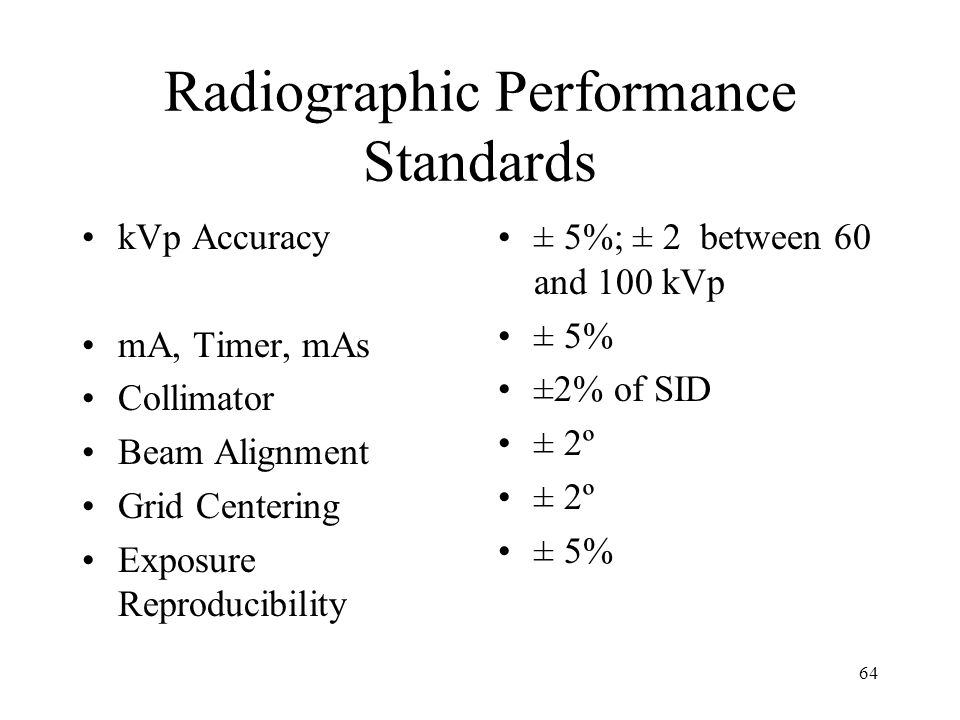 Radiographic Performance Standards