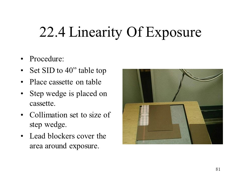 22.4 Linearity Of Exposure Procedure: Set SID to 40 table top