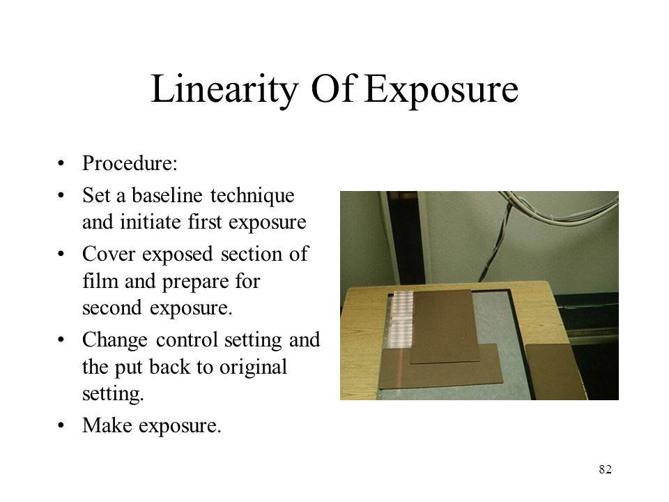 Linearity Of Exposure Procedure: