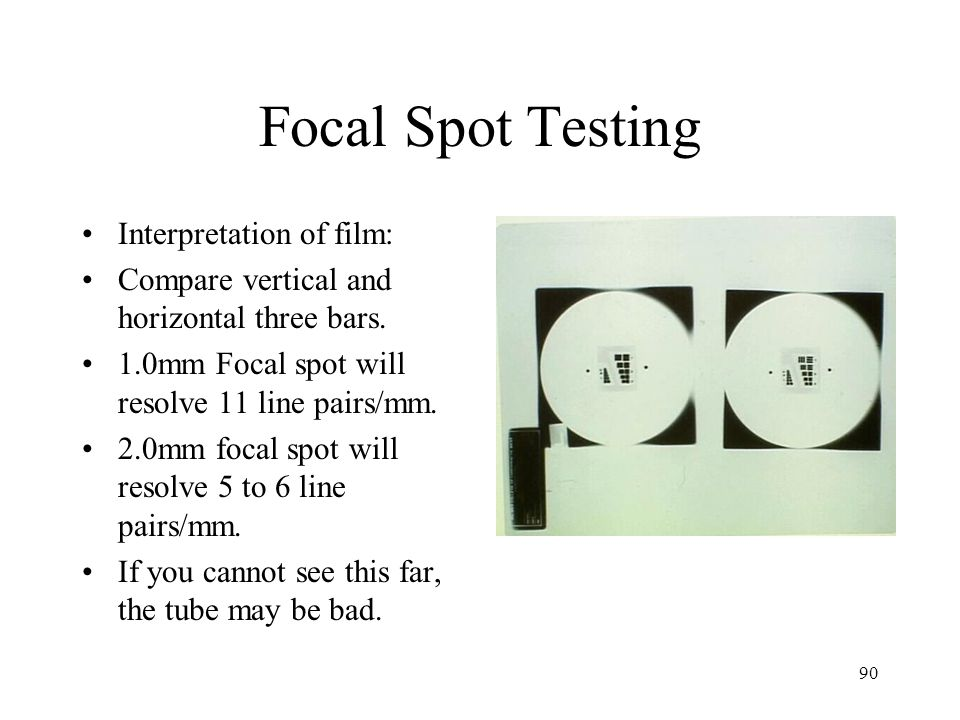 Focal Spot Testing Interpretation of film: