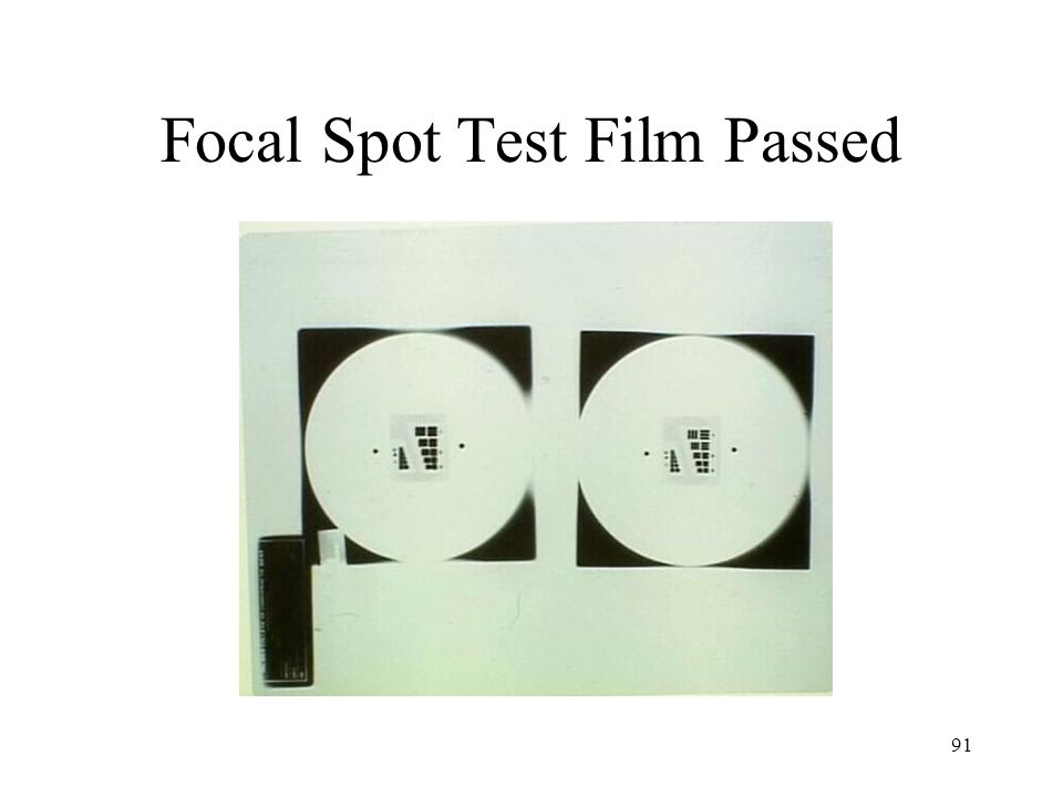 Focal Spot Test Film Passed