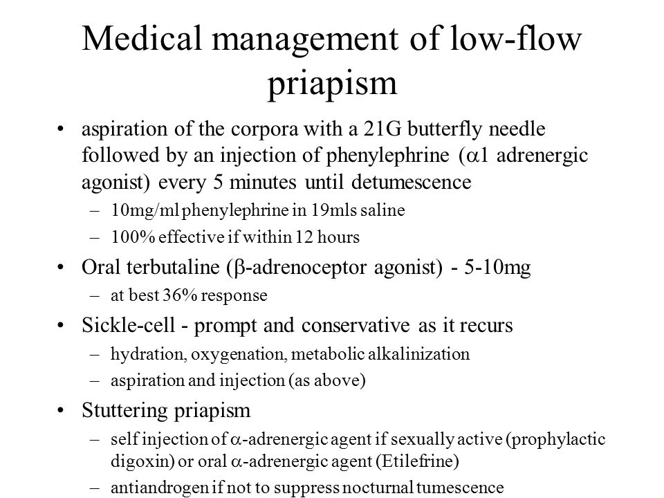 Medical management of low-flow priapism