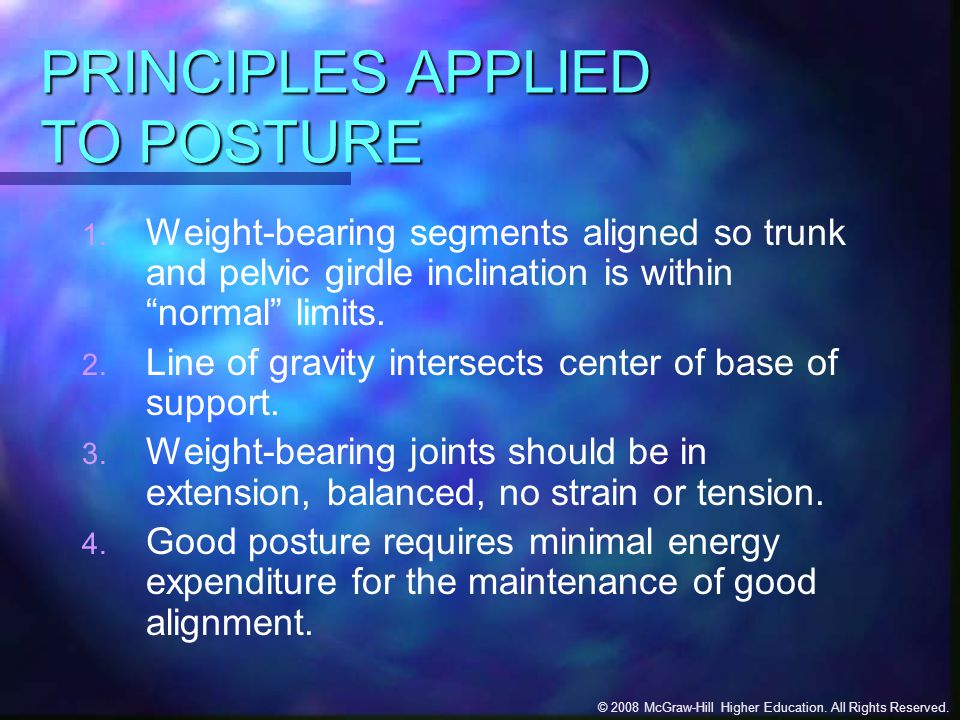 PRINCIPLES APPLIED TO POSTURE