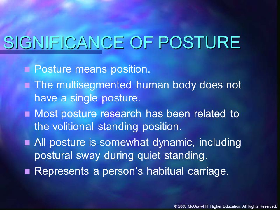 SIGNIFICANCE OF POSTURE