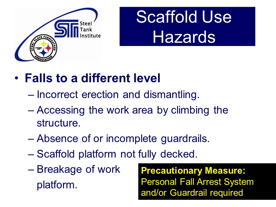 Scaffold Use Hazards Falls to a different level