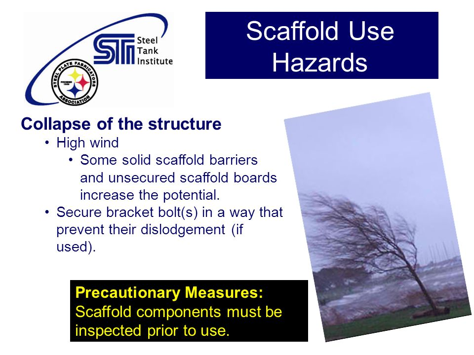 Scaffold Use Hazards Collapse of the structure Precautionary Measures: