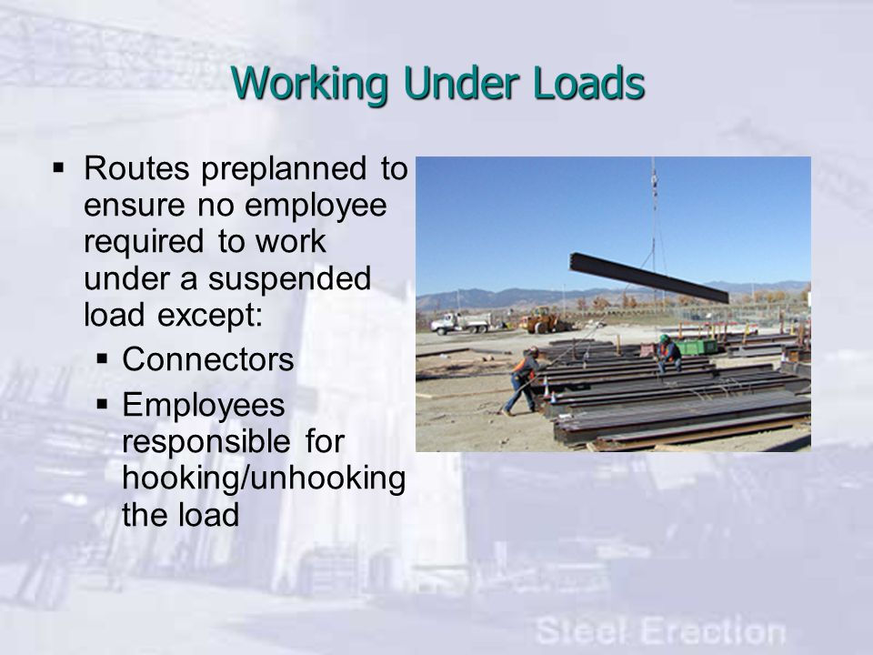 Working Under Loads Routes preplanned to ensure no employee required to work under a suspended load except: