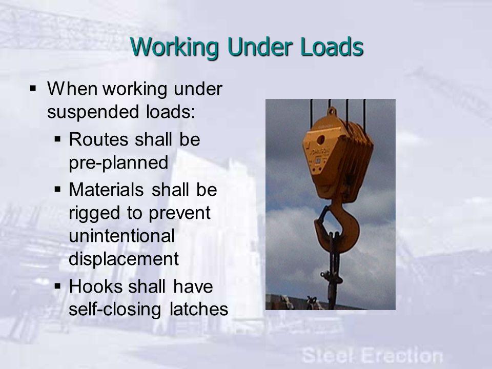 Working Under Loads When working under suspended loads: