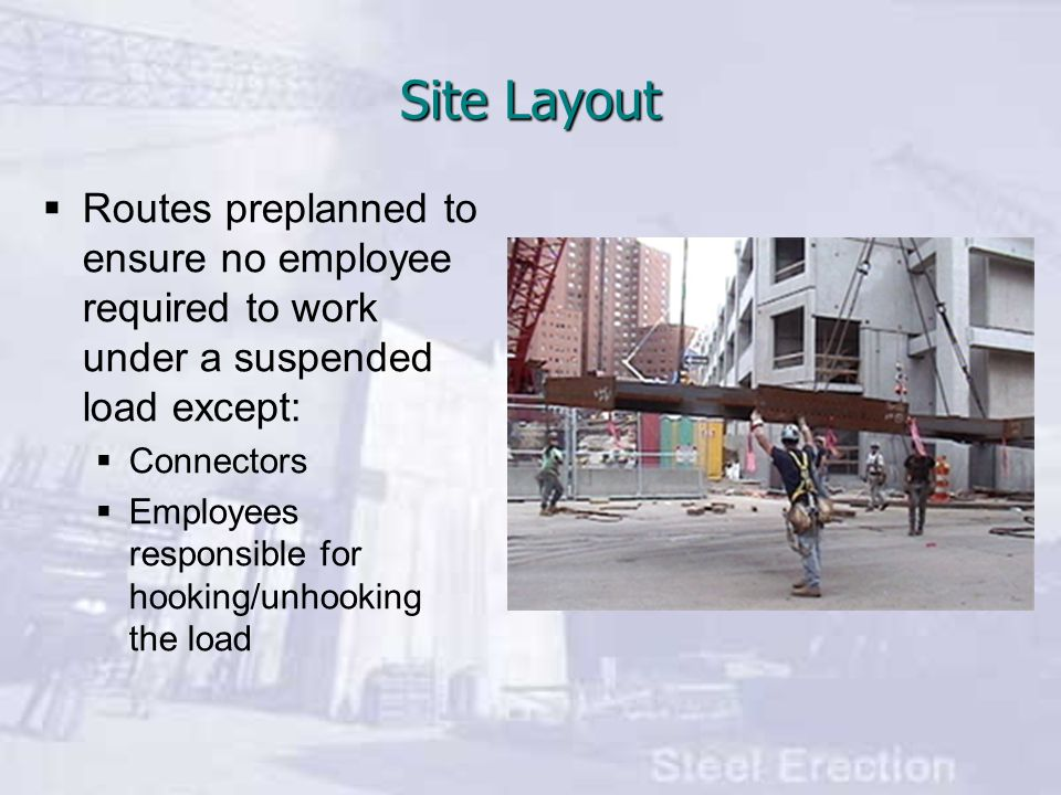 Site Layout Routes preplanned to ensure no employee required to work under a suspended load except: