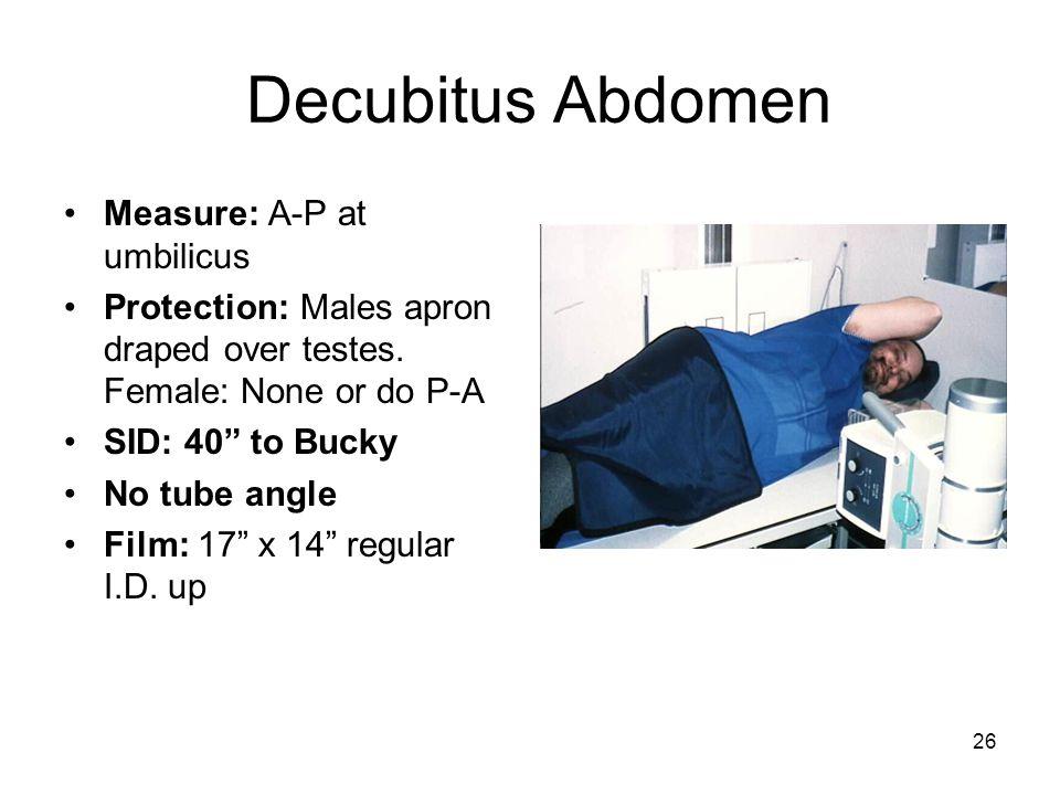 Decubitus Abdomen Measure: A-P at umbilicus