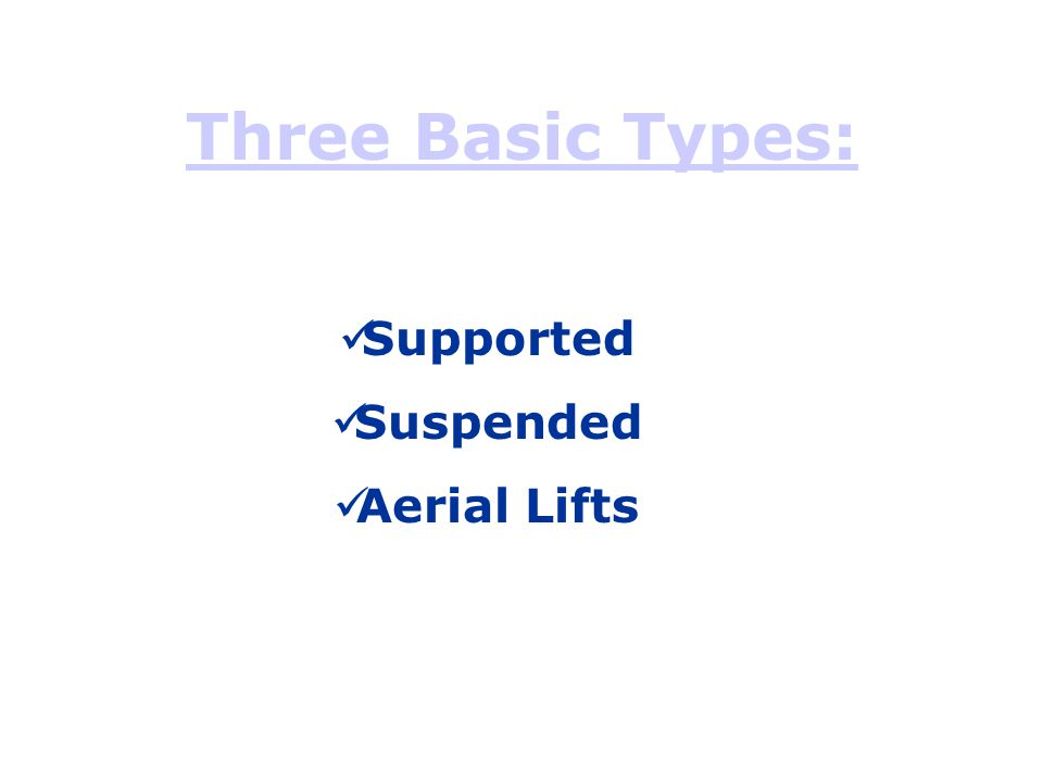 Three Basic Types: Supported Suspended Aerial Lifts