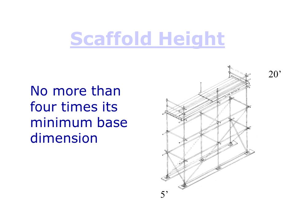 Scaffold Height No more than four times its minimum base dimension 20'