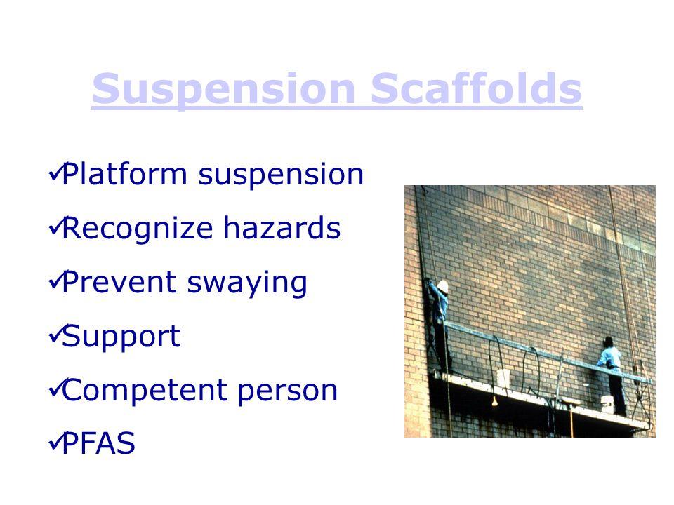 Suspension Scaffolds Platform suspension Recognize hazards